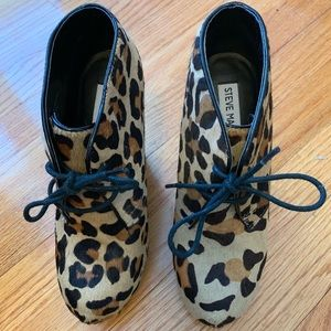 Steve Madden wedge leopard print booties.